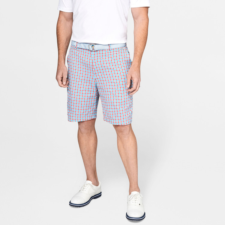 Apex Seersucker Check Performance Short in Cape Red by Peter Millar