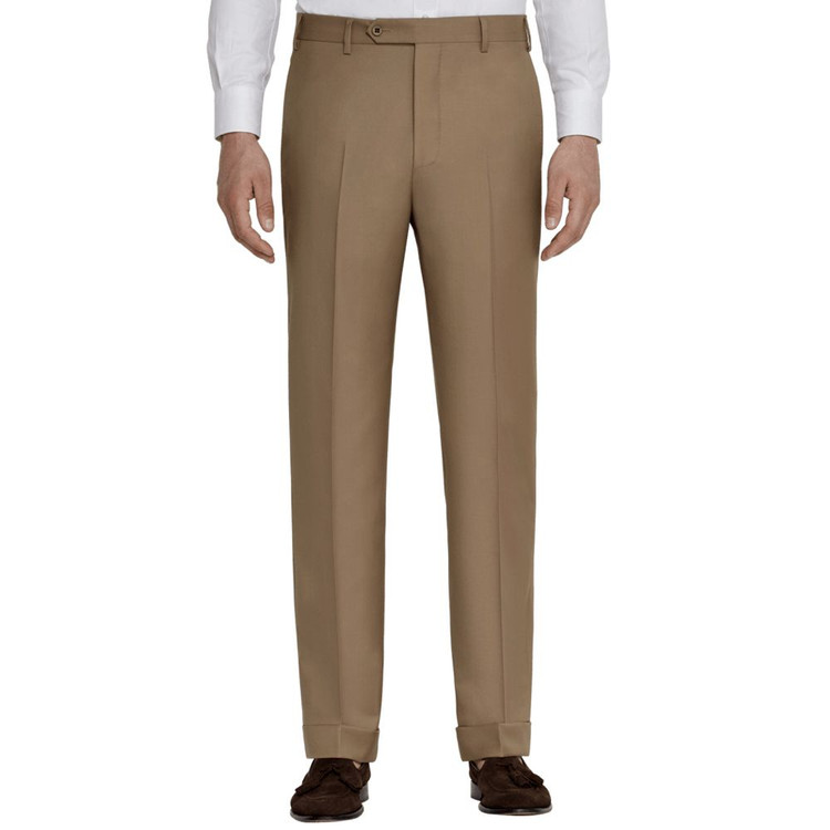 'Todd' Flat Front Wool Gabardine Pant in Medium Beige by Zanella
