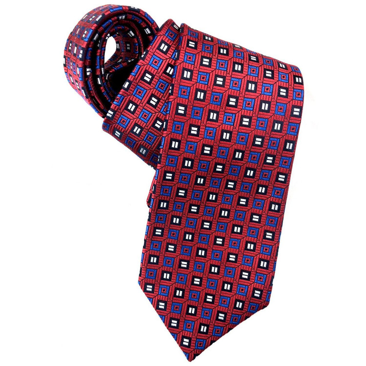 Red, Blue, and Navy Geometric Squares Woven Silk Tie by Robert Jensen
