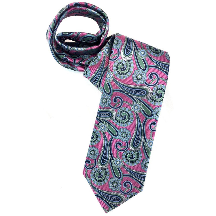 Raspberry, Green, and Blue Paisley Woven Silk Tie by Robert Jensen