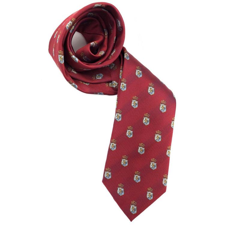 Red and Blue Subtle Stripe Lion Crest Silk  Club Tie by Robert Jensen