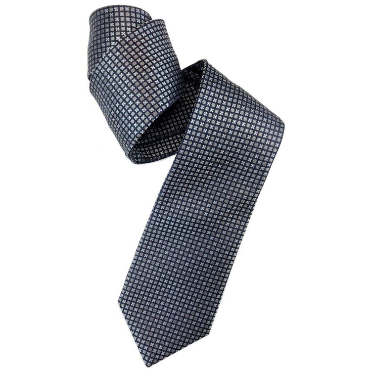 Grey, Navy, and Sky Geometric Woven Silk Tie by Robert Jensen