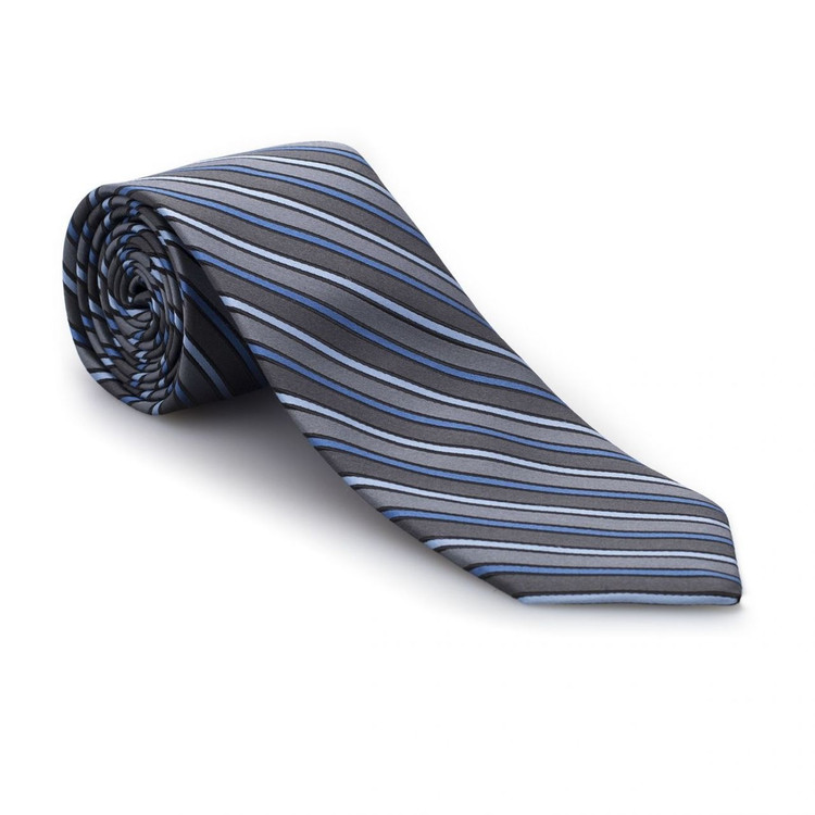 Blue and Grey Stripe 'Studio' Woven Silk Tie by Robert Talbott