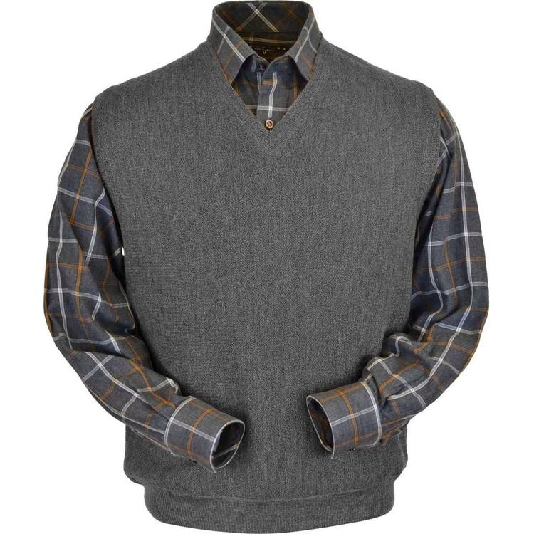 Baby Alpaca Link Stitch Sweater Vest in Medium Grey Heather (Size Medium) by Peru Unlimited