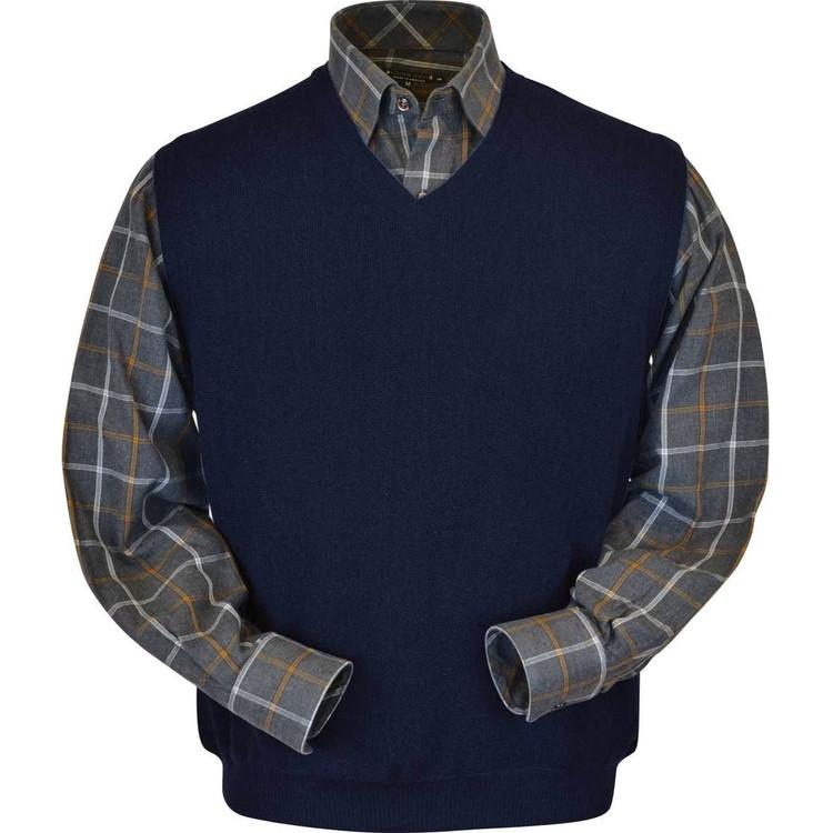 Baby Alpaca Link Stitch Sweater Vest in Navy (Size Medium) by Peru Unlimited