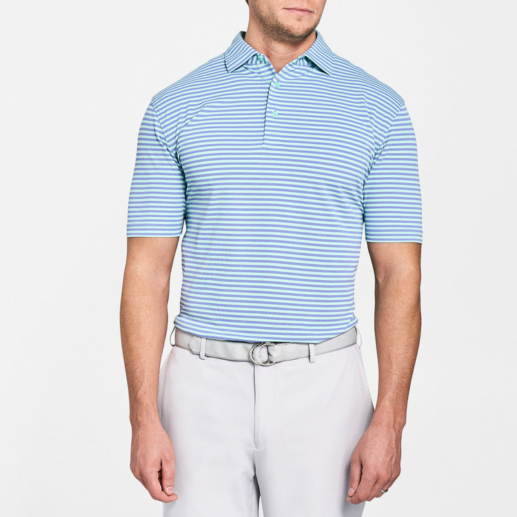 Tygra Stripe Stretch Mesh 'Crown Sport' Performance Polo with Sean Self Collar in Thunderbird and Cays by Peter Millar