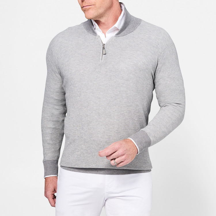 Crown Soft Cotton and Silk Quarter-Zip Shawl Sweater in British Grey by Peter Millar