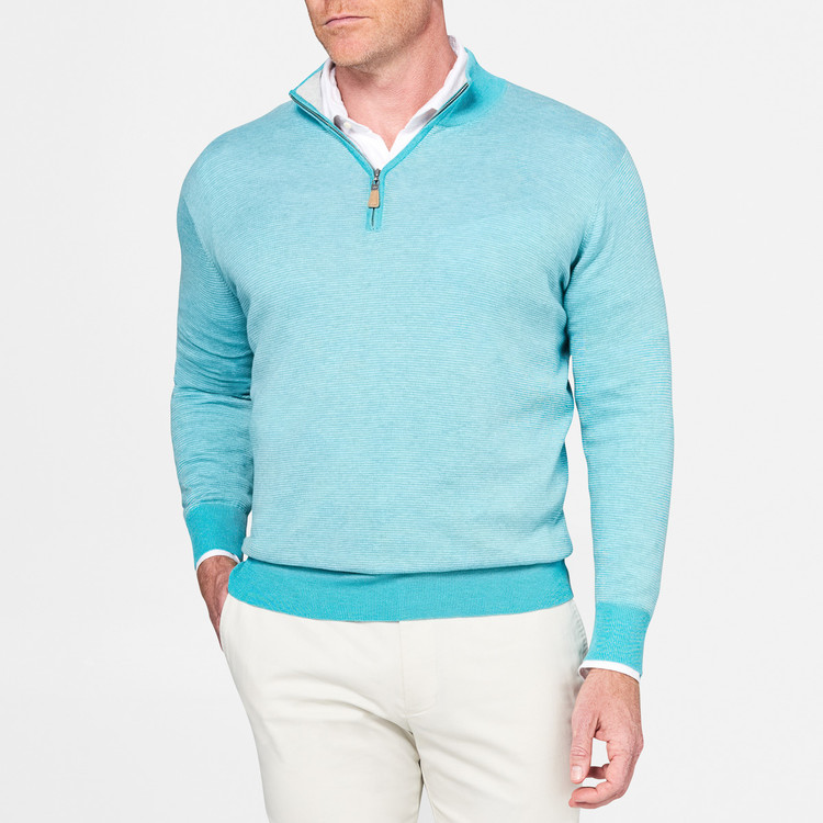 Crown Soft Striped Cotton and Silk Quarter-Zip Shawl Sweater in Fishtrap by Peter Millar
