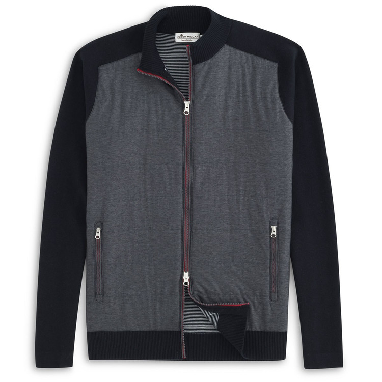 Full-Zip Mélange Hybrid Sweater in Black by Peter Millar