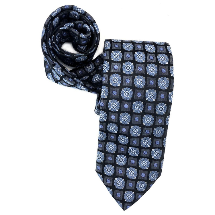 Spring 2018 Best of Class Black, Blue, and Grey Geometric Medallion Woven Silk Tie by Robert Talbott