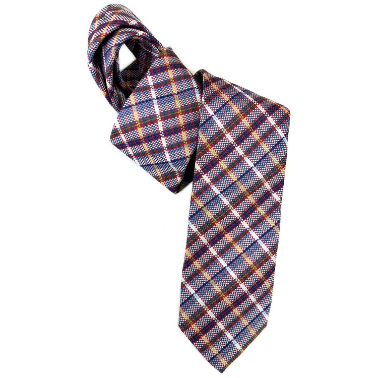 Spring 2018 Best of Class Blue and Red Plaid 'Welch Margetson' Woven Silk Tie by Robert Talbott