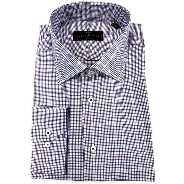 Blue and Raspberry Zephir Poplin Estate Dress Shirt by Robert Talbott