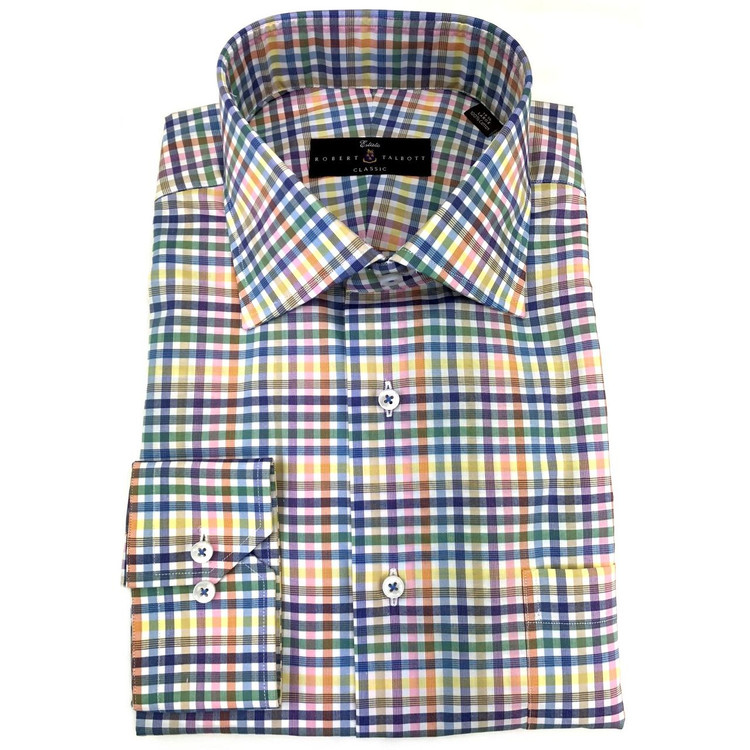 Lemon Zephir Check Estate Dress Shirt by Robert Talbott