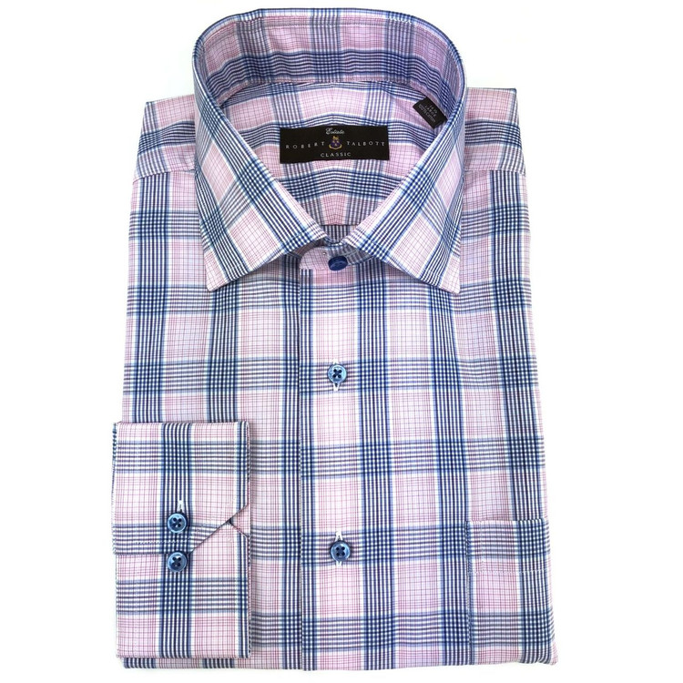 Pink and Blue Ultimate Twill Check Estate Dress Shirt by Robert Talbott