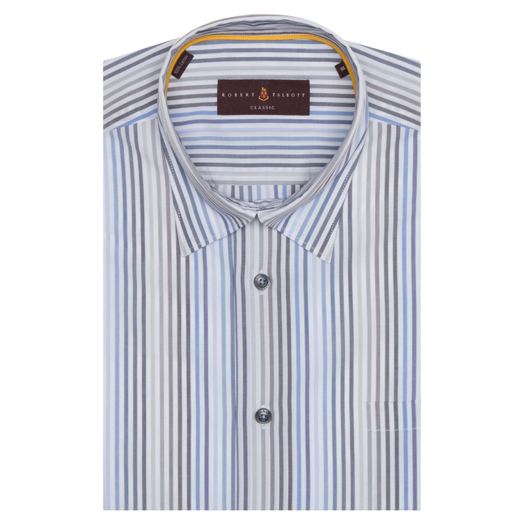 Blue, Grey, and White Stripe 'Anderson II' Sport Shirt by Robert Talbott