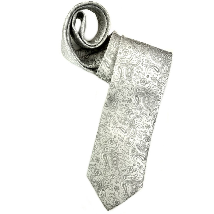 Spring 2018 Best of Class White and Grey Mini Paisley 'Robert Talbott Protocol' Woven Silk Tie by Robert Talbott
