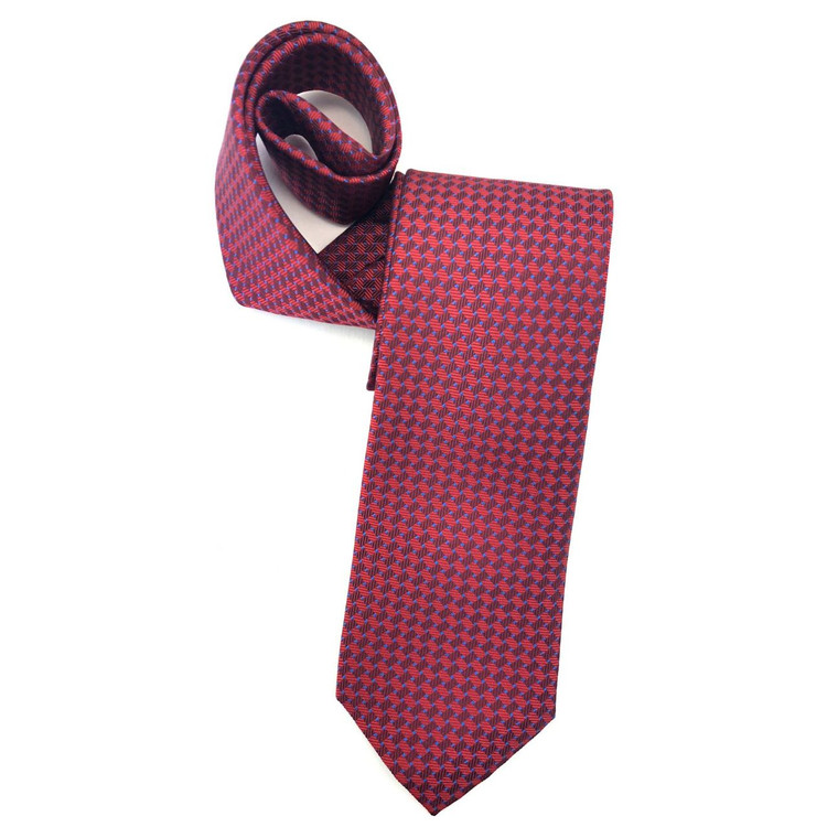 Spring 2018 Best of Class Red and Blue Basketweave 'English Super Jacquard' Woven Silk Tie by Robert Talbott