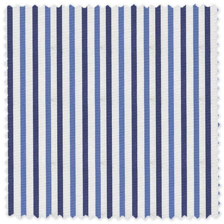 Navy, Blue, and White Stripe 'Grandi & Rubinelli' Cotton Broadcloth Custom Dress Shirt by Skip Gambert