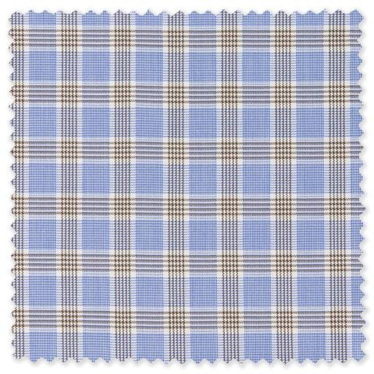 Prince of Wales Brown and Blue Check Custom Dress Shirt by Gitman Brothers