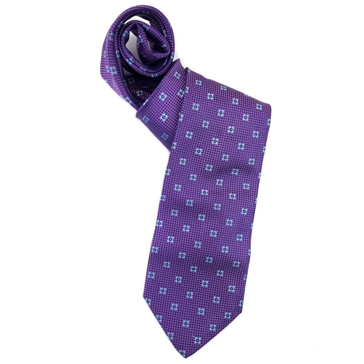 Spring 2018 Best of Class Purple and Navy Neat Woven Silk Tie by Robert Talbott