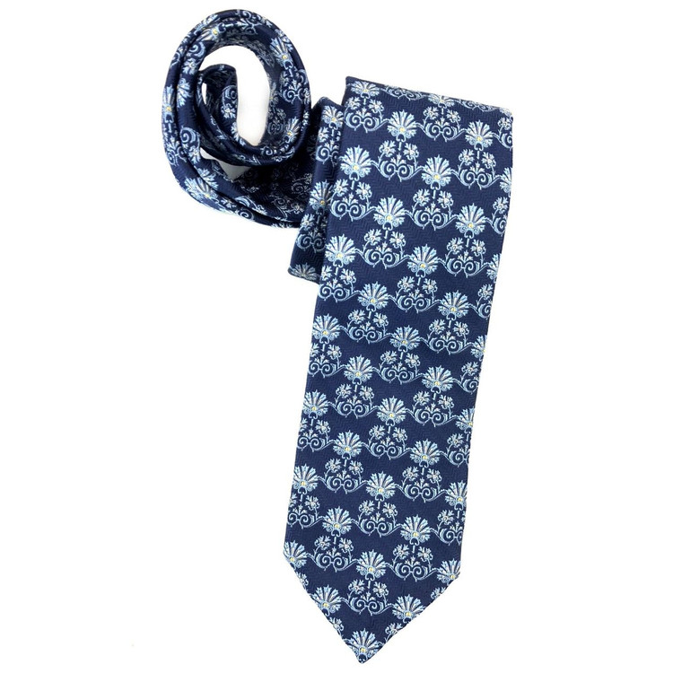 Spring 2018 Navy and Blue Botanical 'Sudbury' Seven Fold Woven Silk Tie by Robert Talbott