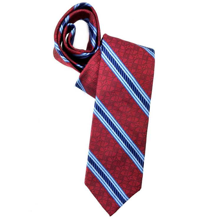 Spring 2018 Red and Blue Geometric Stripe 'Sudbury' Seven Fold Woven Silk Tie by Robert Talbott