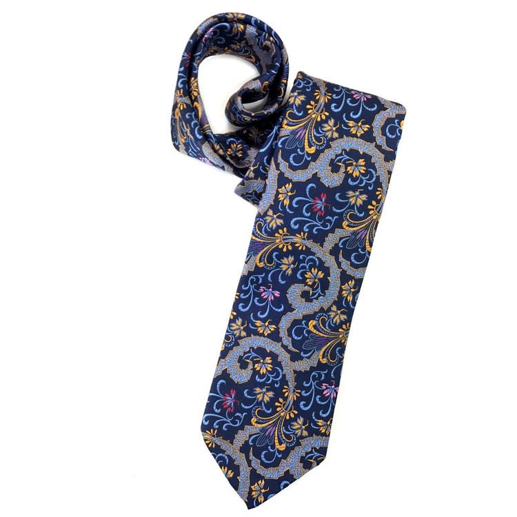 Spring 2018 Navy, Gold, and Blue Floral Paisley 'Sudbury' Seven Fold Woven Silk Tie by Robert Talbott