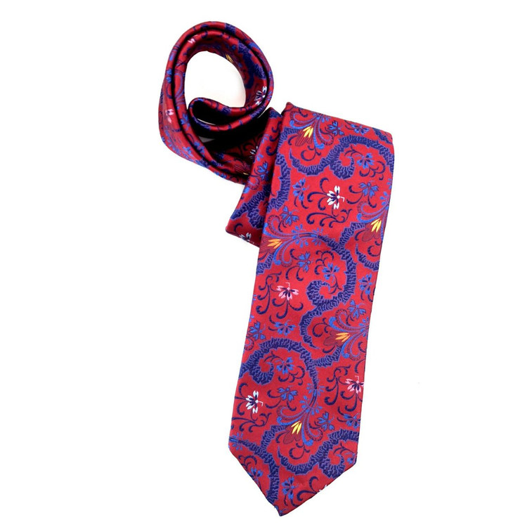 Spring 2018 Red and Blue Floral Paisley 'Sudbury' Seven Fold Woven Silk Tie by Robert Talbott