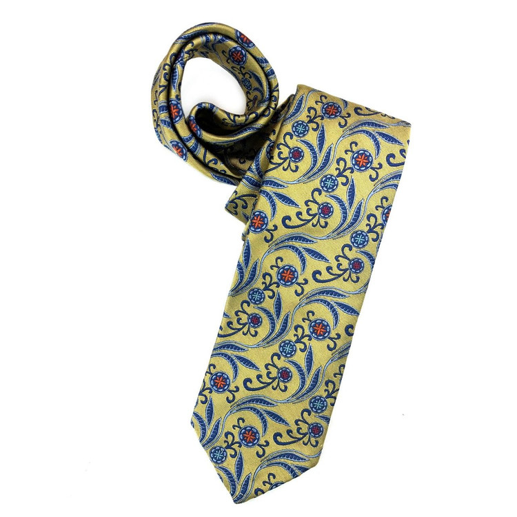 Spring 2018 Gold and Blue Botanical 'Sudbury' Seven Fold Woven Silk Tie by Robert Talbott