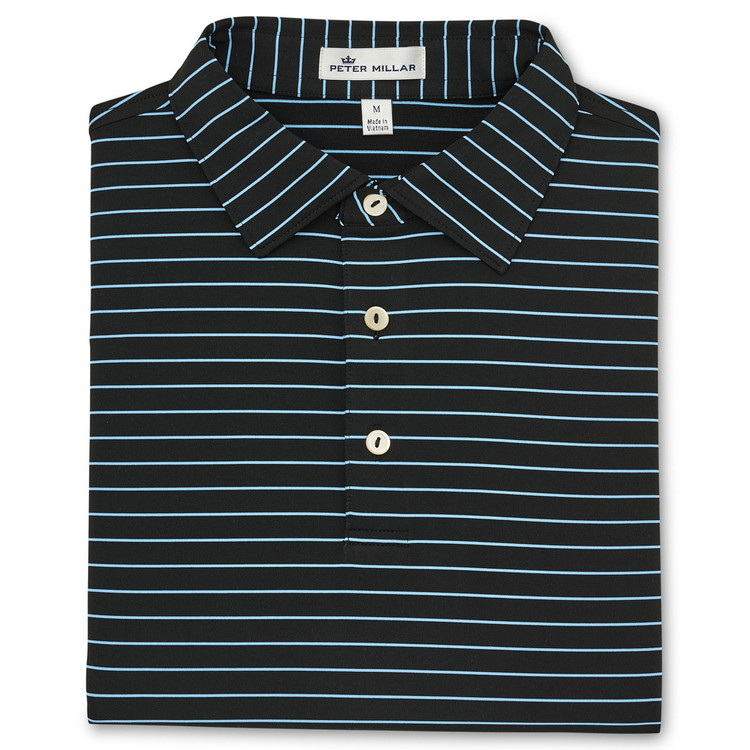 NEW Fall 2018-Halifax Stripe Performance Polo by Peter Millar- Black