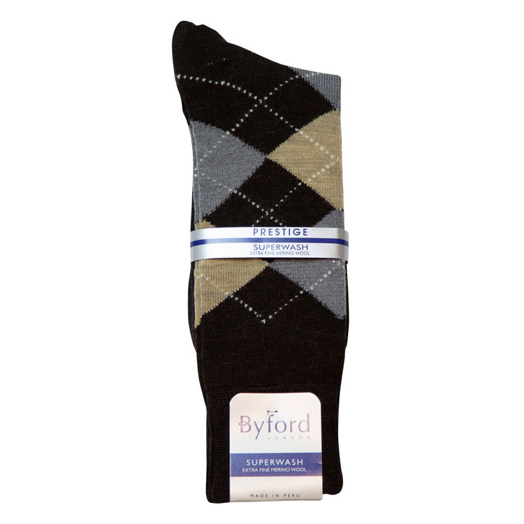 Black Argyle Peruvian Pima Cotton Socks (Mid-Calf) by Byford
