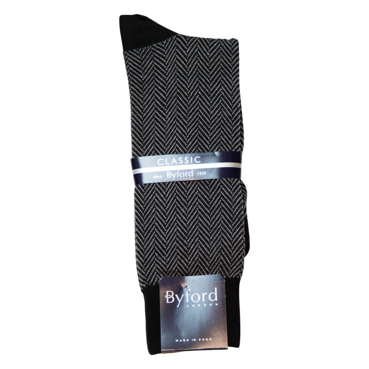 Black Herringbone Peruvian Pima Cotton Socks (Mid-Calf) by Byford