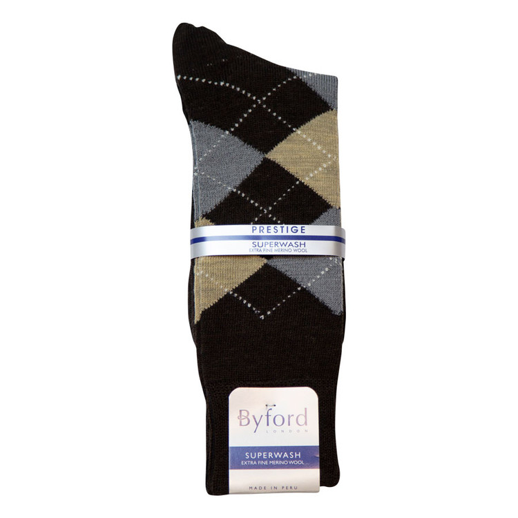 Brown Argyle Superwash Merino Wool Socks (Mid-Calf) by Byford