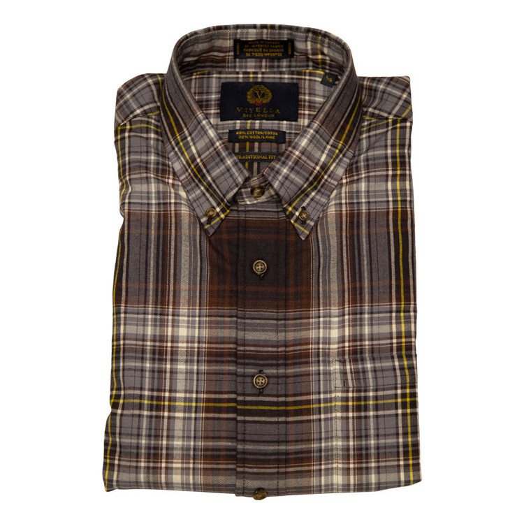 Brown Plaid Button-Down Shirt by Viyella