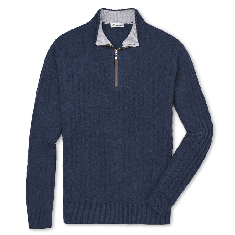 Crown Fleece Suede-Trimmed Quarter-Zip in Indigo by Peter Millar