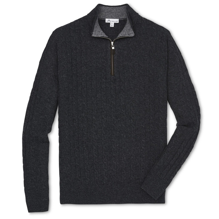 Crown Fleece Suede-Trimmed Quarter-Zip in Smoke by Peter Millar