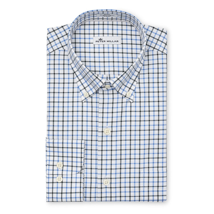 Crown Ease Malta Tattersall Sport Shirt in Marina Blue by Peter Millar