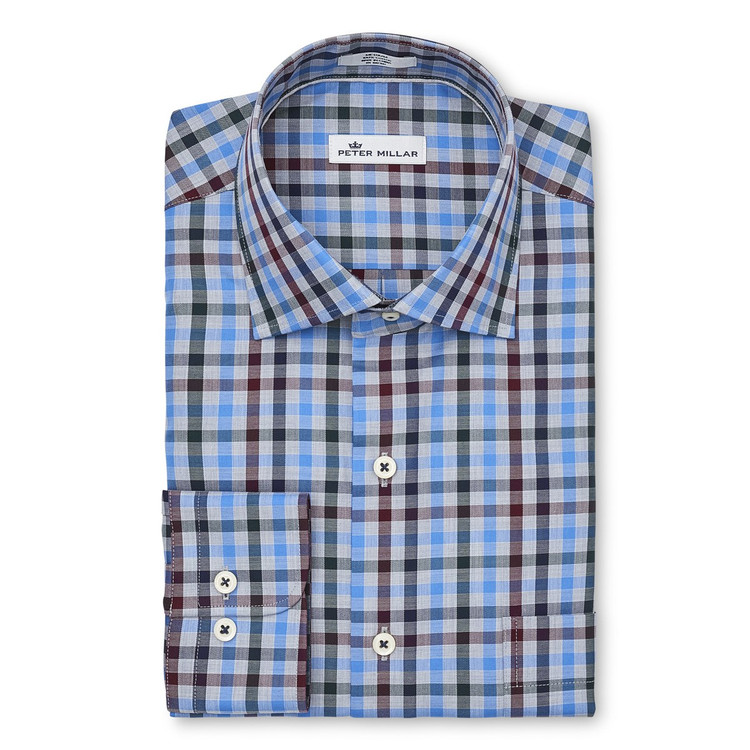 Macon Multi-Check Sport Shirt in Cottage Blue by Peter Millar