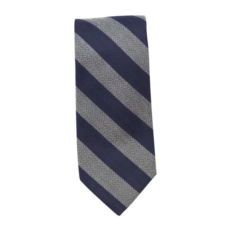Best of Class Navy and Grey 'Seasonal' Woven Silk Tie by Robert Talbott