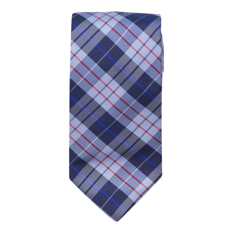 Navy, Blue and Red Plaid 'Studio' Woven Silk Tie by Robert Talbott