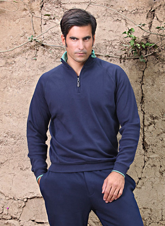 Pima Cotton - Interlock Half-Zip Mock Neck Sweater in Choice of Colors by Peru Unlimited
