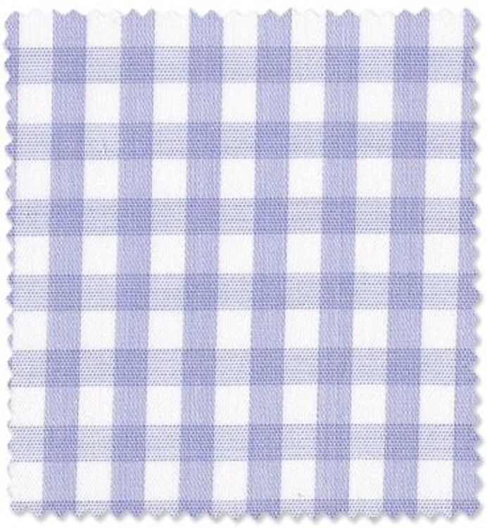 Light Blue Check 'Royal 200's' Cotton Broadcloth Custom Dress Shirt by Skip Gambert