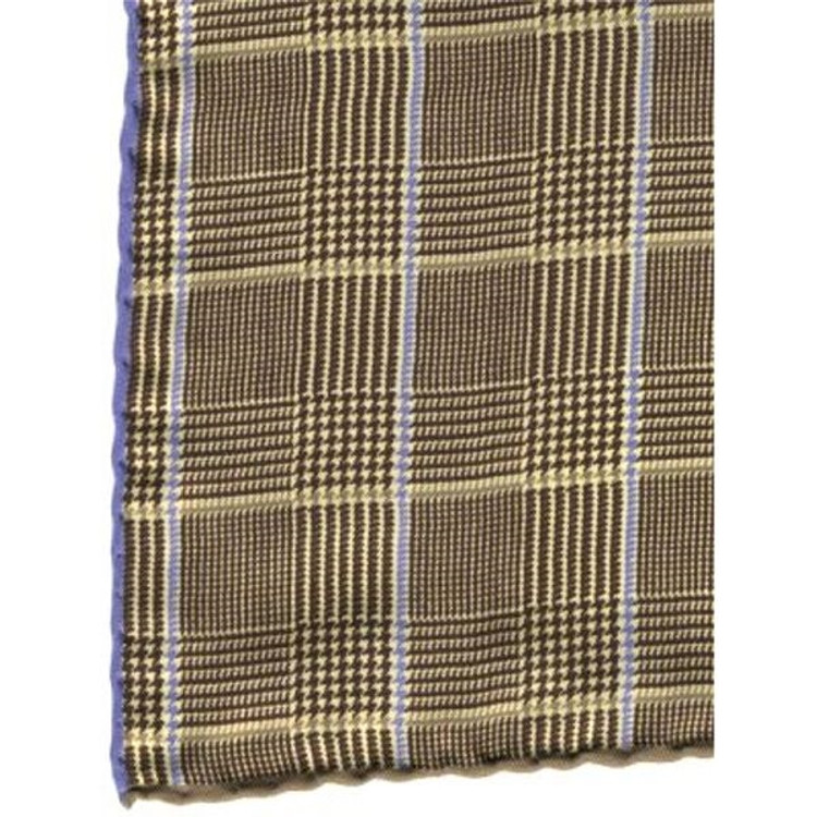 Silk Houndstooth Plaid Pocket Square in Brown by Robert Talbott