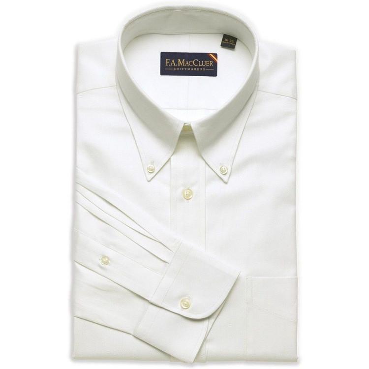White 100's 2-Ply Herringbone Dress Shirt (Size 14 1/2 - 33) by F.A. MacCluer
