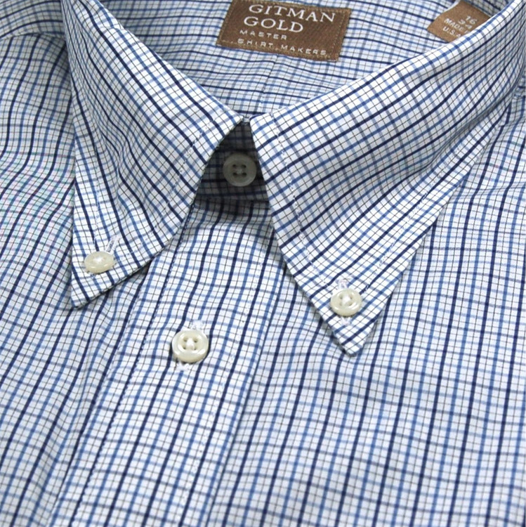 'Gitman Gold' Blue and White Check Broadcloth Dress Shirt (Size 16 - 35) by Gitman Brothers