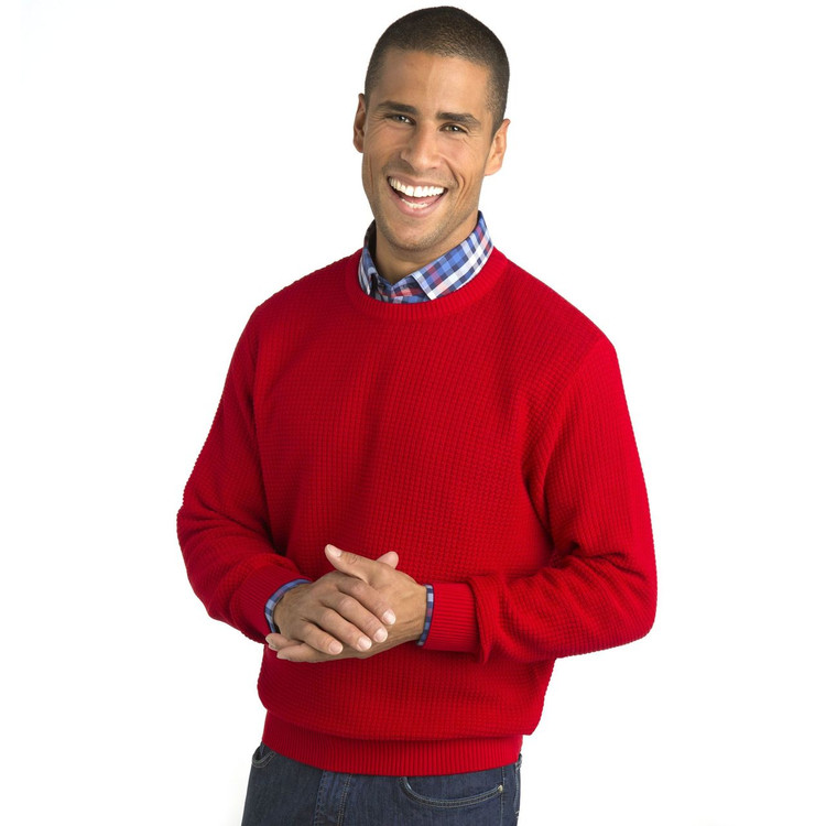 'Popcorn Stitch' Dimensional Cotton Blend Crewneck Sweater in Red by St. Croix