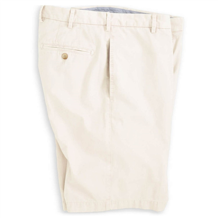 'Winston' Washed Twill Flat Front Short in Stone (Size 32 Only) by Peter Millar