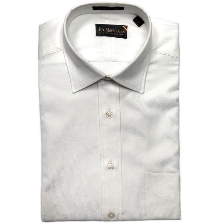 White 80's 2-Ply Royal Oxford Dress Shirt (Size 14 1/2 - 33) by F.A. MacCluer