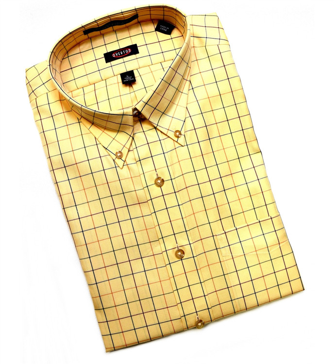 Maize Plaid Button-Down Wrinkle Free Sport Shirt by Overton