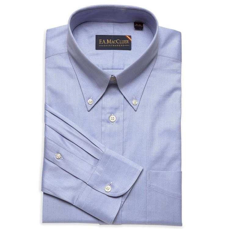 Blue 100's 2-Ply Herringbone Dress Shirt (Size 14 1/2 - 33) by F.A. MacCluer